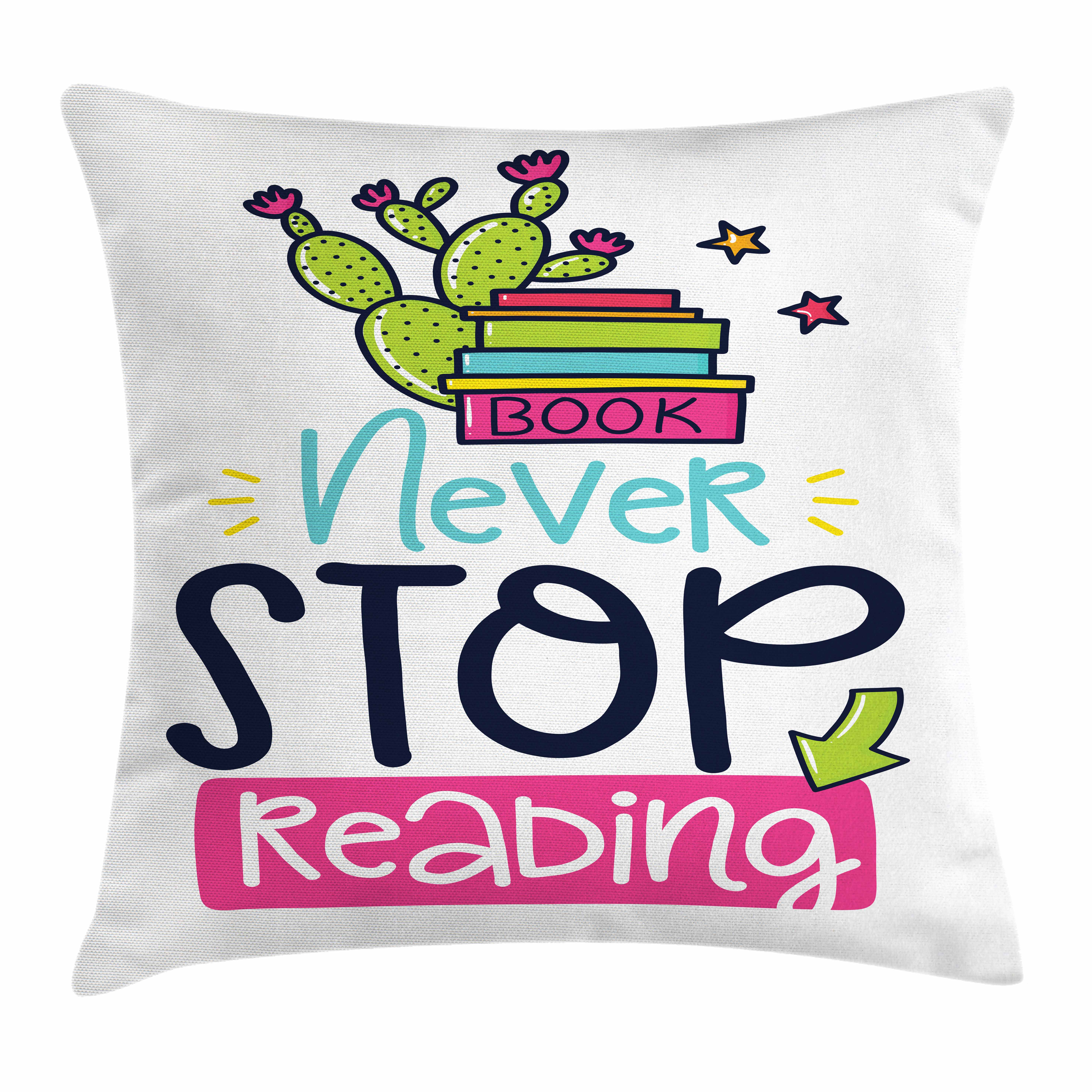 Book Throw Pillow Cushion Cover, Vivid Color Cactus and Stars Behind Books with Inspirational Print Never Stop Reading, Decorative Square Accent Pillow Case, 20 X 20 Inches, Multicolor, by Ambesonne