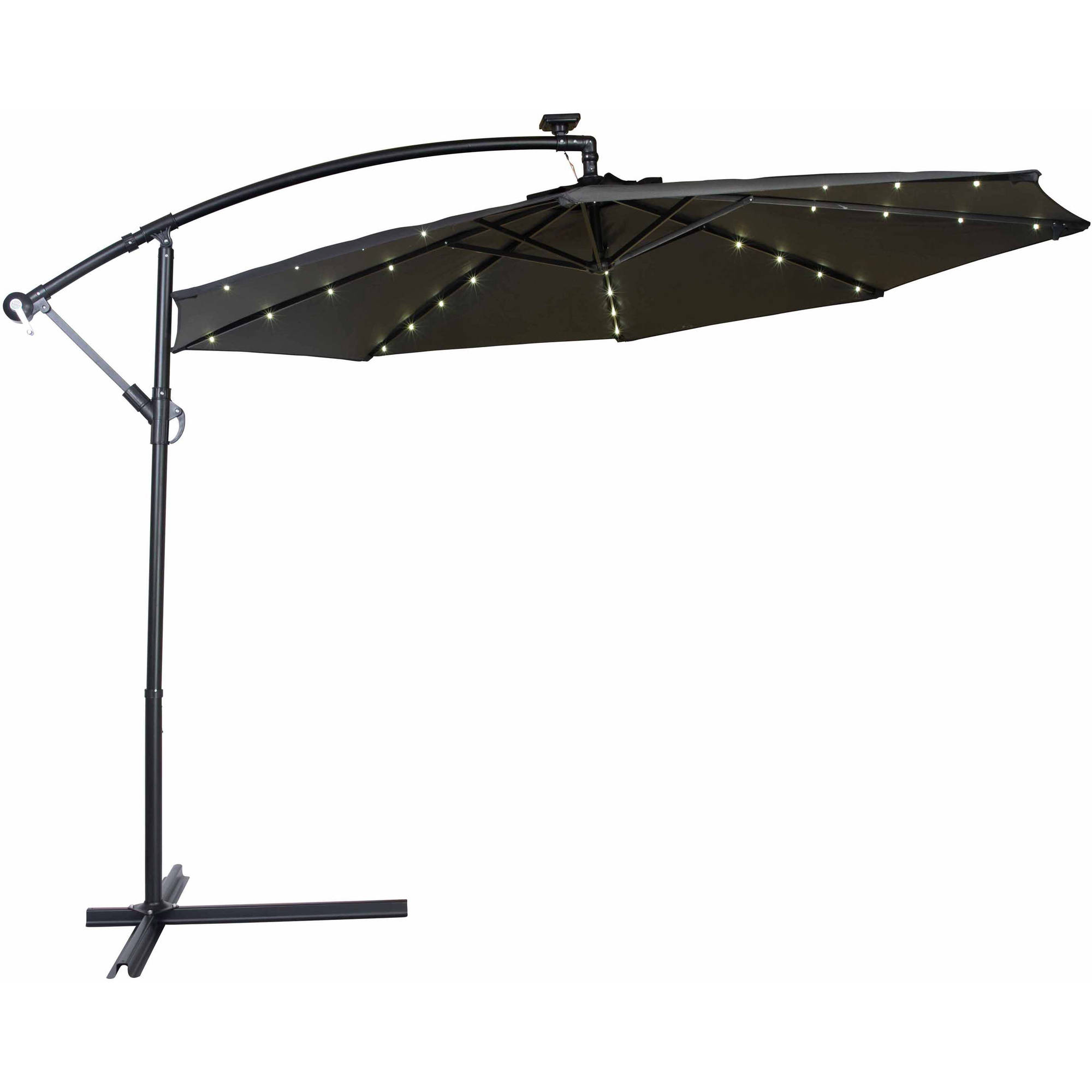Perfect Deluxe Polyester Offset Patio Umbrella With LED Lights, 10u0027