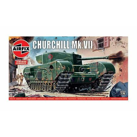 Airfix Vintage Classics Churchill MK VII Tank 1:76 Military Ground Vehicle Plastic Model Kit A01304V (Tank Plastic Model)
