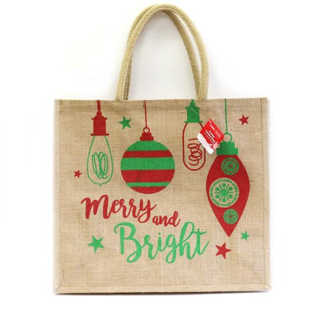 DDI 2319889 Merry & Bright Burlap Jumbo Bag with Chunky Handles - Case of 24