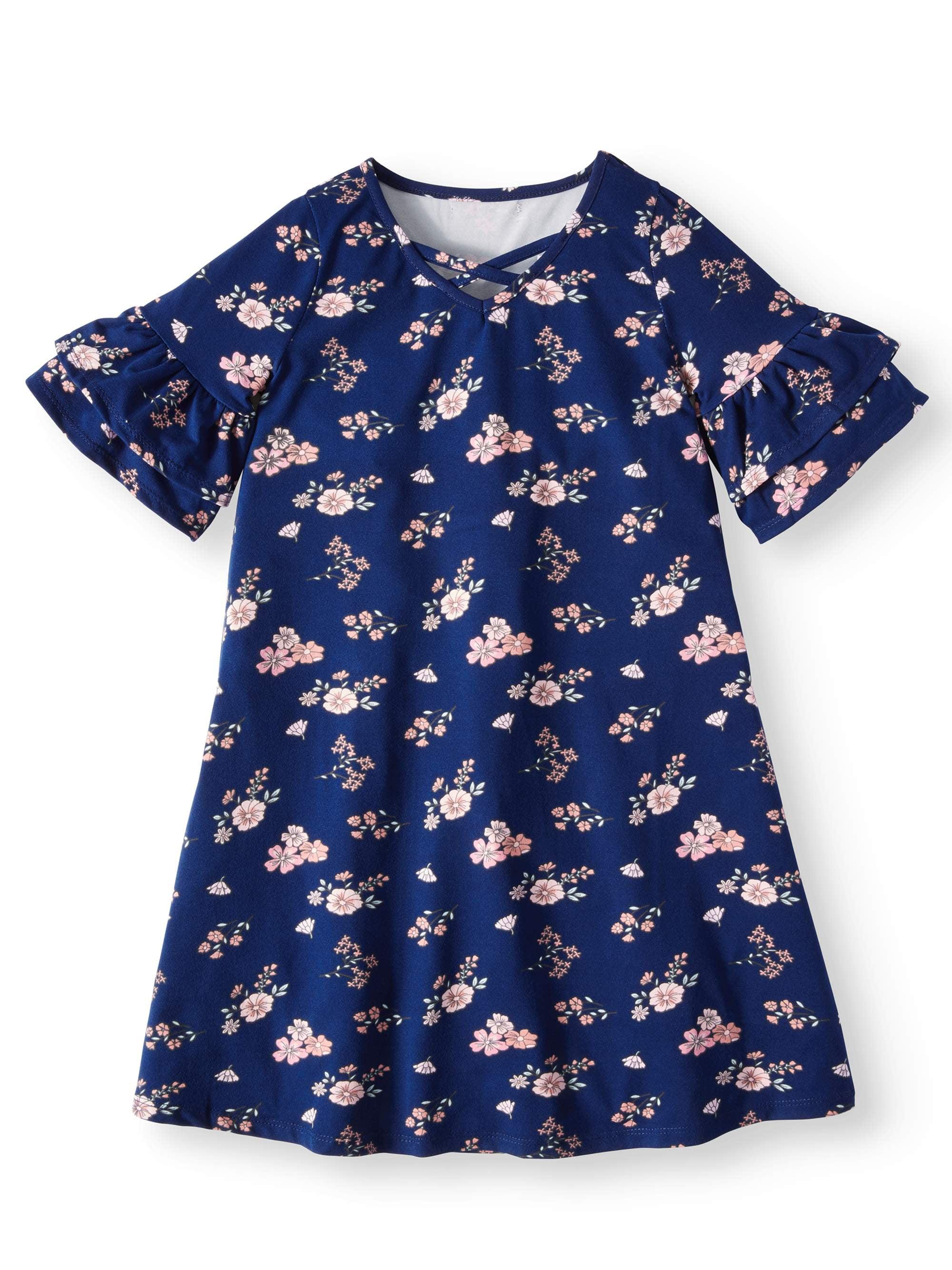 Cross Neck Ruffled Sleeve Floral Dress (Big Girls)