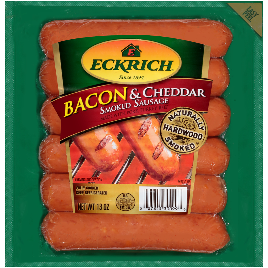 Eckrich Bacon & Cheddar Naturally Hardwood Smoked Sausage Links, Great for Your Favorite Recipes, Grilling and More, 13 ounces