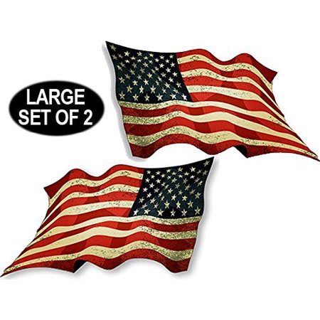 2 Pack: 6x11 inch Large Vintage Waving American Flag Forward & Reverse Stickers - Large Stickers