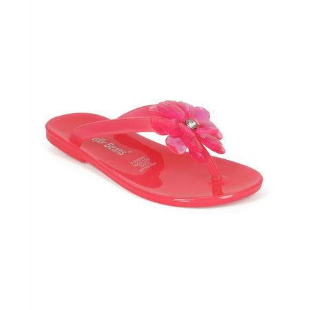 (Jelly Beans CE84 Jelly Flower Gem Slip On Thong Sandal (Toddler/ Little Girl/ Big Girl))