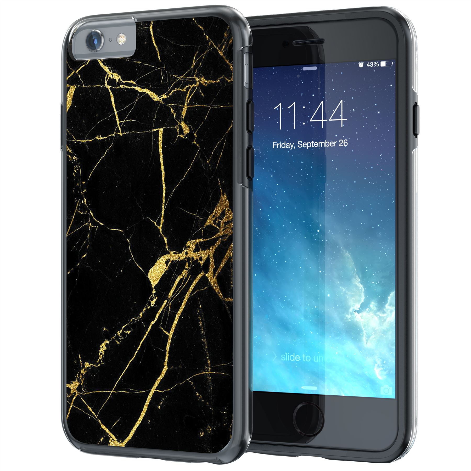 "iPhone 6 Plus Case, iPhone 6s Plus 5.5"" Case, True Color® Black & Gold Marble [Stone Texture Collection] Slim Hybrid Hard Back + Soft TPU Bumper Protective Durable Cover [True Impact Series]"