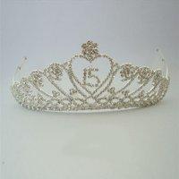 Girls Silver Dangling Quinceanera Rhinestone Tiara Headpiece
