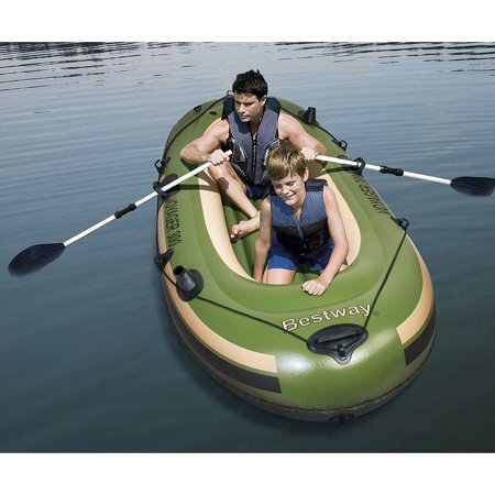 Hydro Force Voyager 300 Inflatable River Boat with Aluminum Raft Oars (Best Way To Remove Paint From Aluminum Boat)
