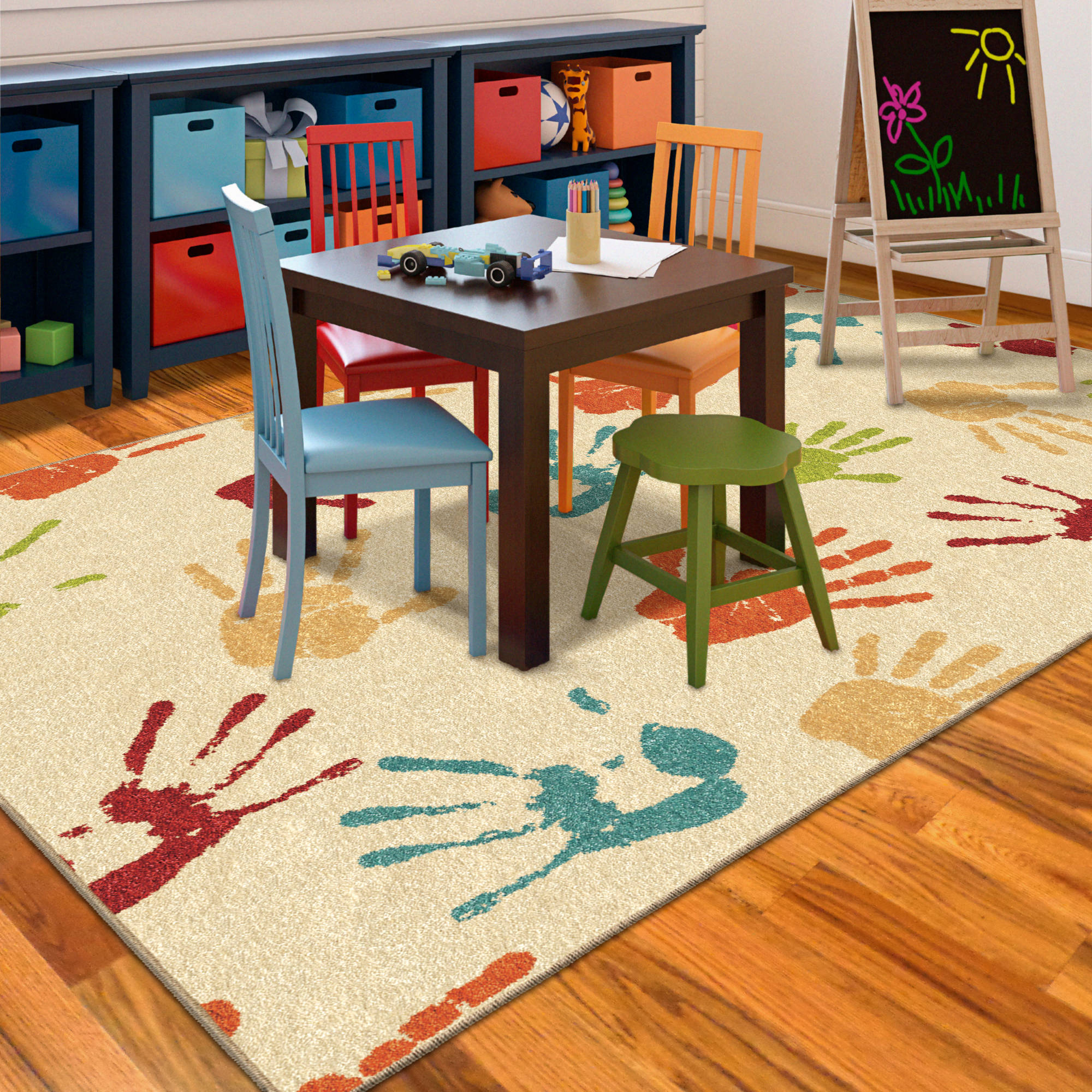 Kids Hand Prints Area Rug Colorful Fun Kid's Bedroom