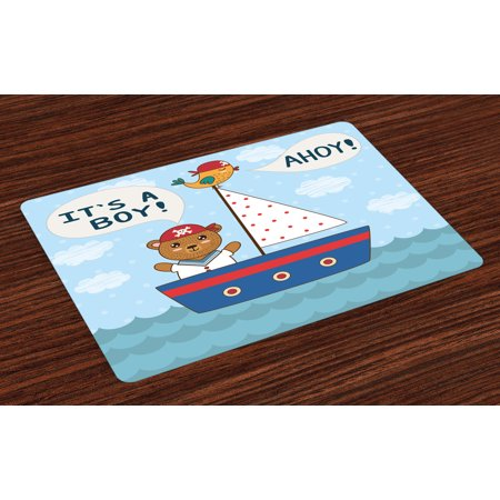 Ahoy Its a Boy Placemats Set of 4 Cute Baby Shower Theme It's a Boy in Nautical Style Bear and Bird in Boat, Washable Fabric Place Mats for Dining Room - Ahoy Its A Boy Baby Shower Theme