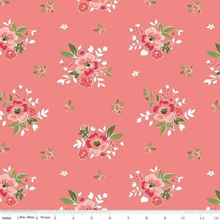 Summer Blush~Floral Bouquets on Pink Cotton Fabric by Riley
