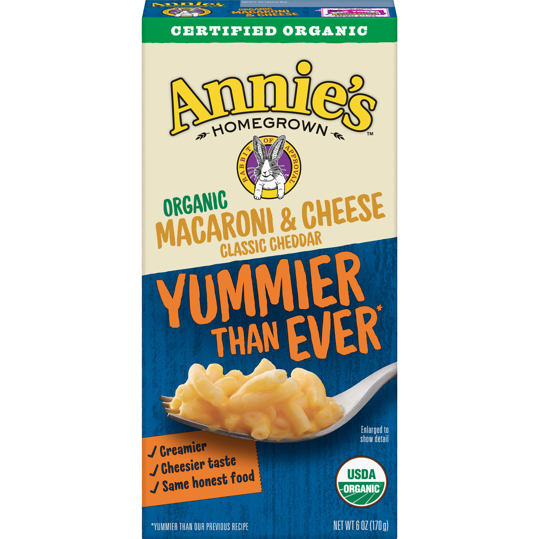 Annie's Organic Macaroni and Cheese, Pasta & Classic Mild Cheddar Mac and Cheese, 6 oz Box