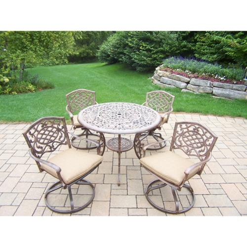 Oakland Living Corporation Dakota Bronze Aluminum, Polyester, and Steel 5-piece Swivel Rocker Weather-resistant Dining Set