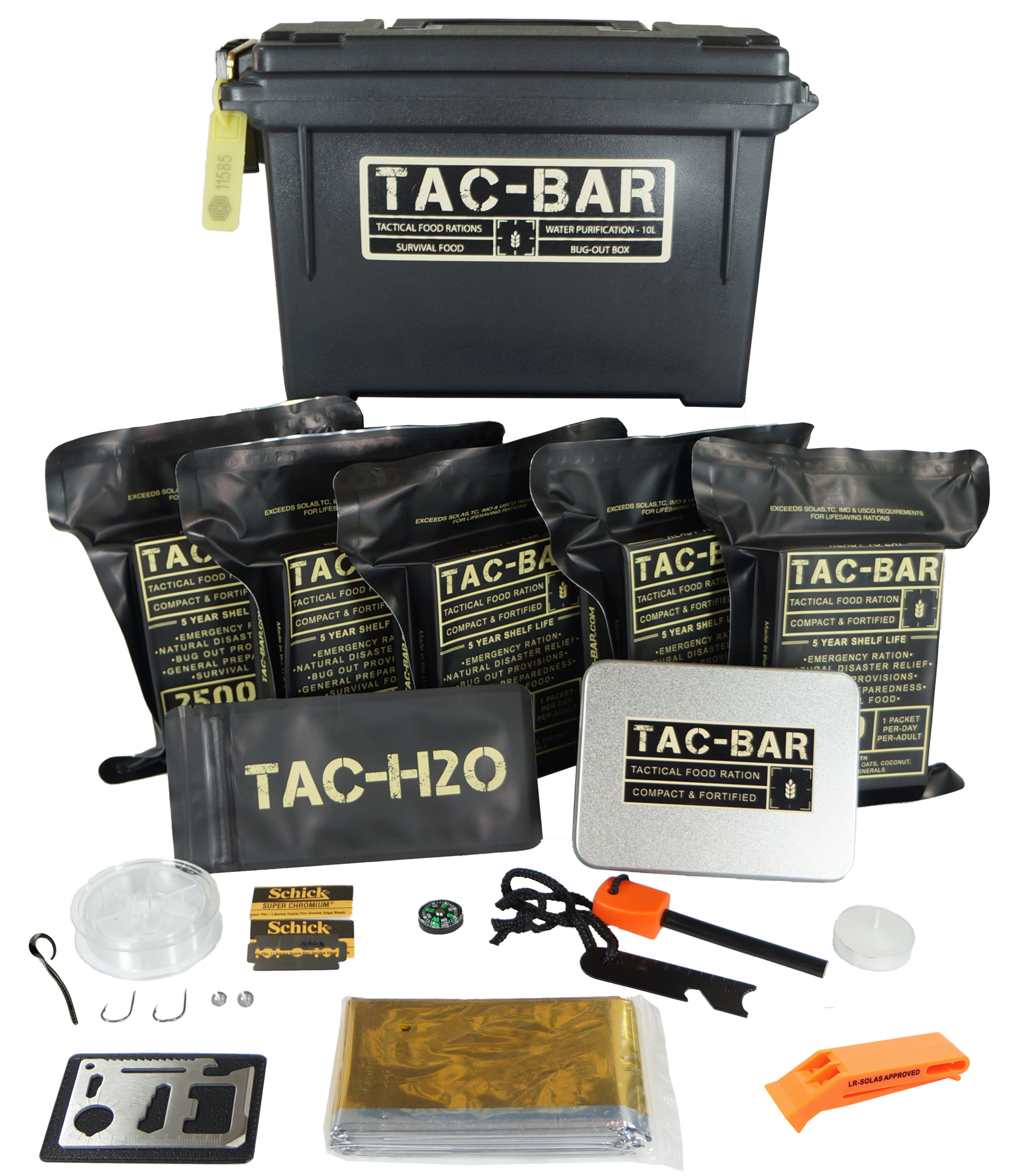 Tac-Bar Ready to Eat Tactical Food Rations for 5 Days (12,500cals) with 10 Aquatab 17 mg Water Purification Tablets Free Survival Kit by Expedition Research LLC