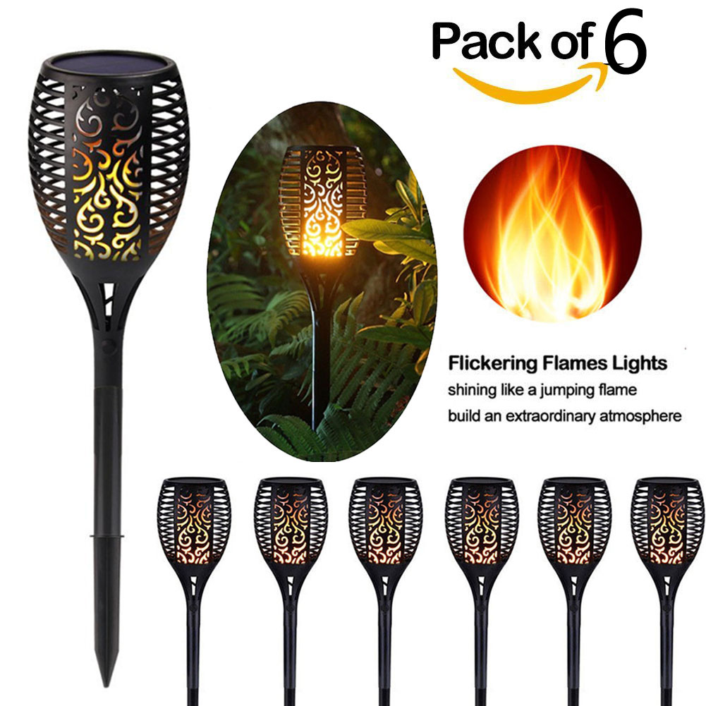 (2~10 Pack) 96 LED Solar Power Path Torch Light Dancing Flame Lighting Flickering Yard Lamp Dusk to Dawn Auto On/Off Security Torch Light for Garden Patio Deck Yard Driveway