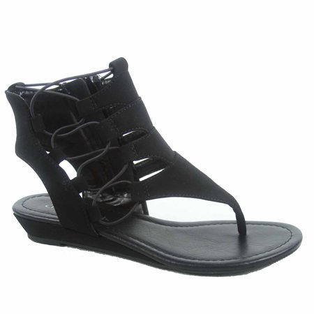 Dartina-s Women's Side Zipper Thong  Gladiator  Low Wedge Sandal Shoes