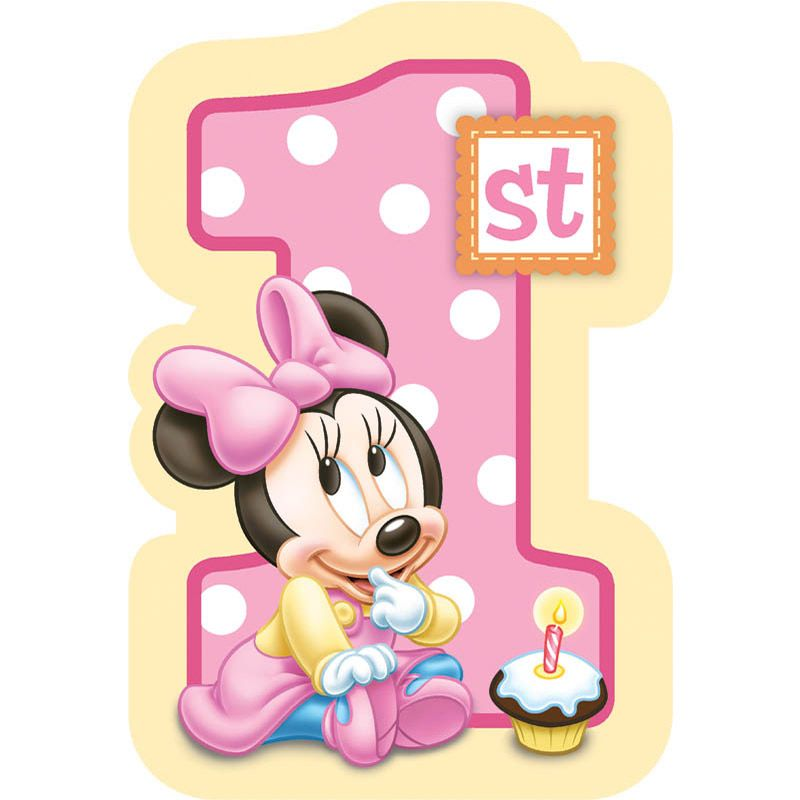 Minnie Mouse 1St Birthday Postcard Invitation (8 Pack) - Party Supplies