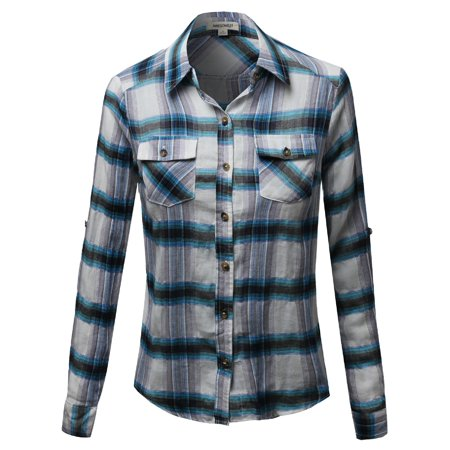 Checkered Blouse - FashionOutfit Women's Cotton Plaid Checkered Rolled up Shirt Blouse Top