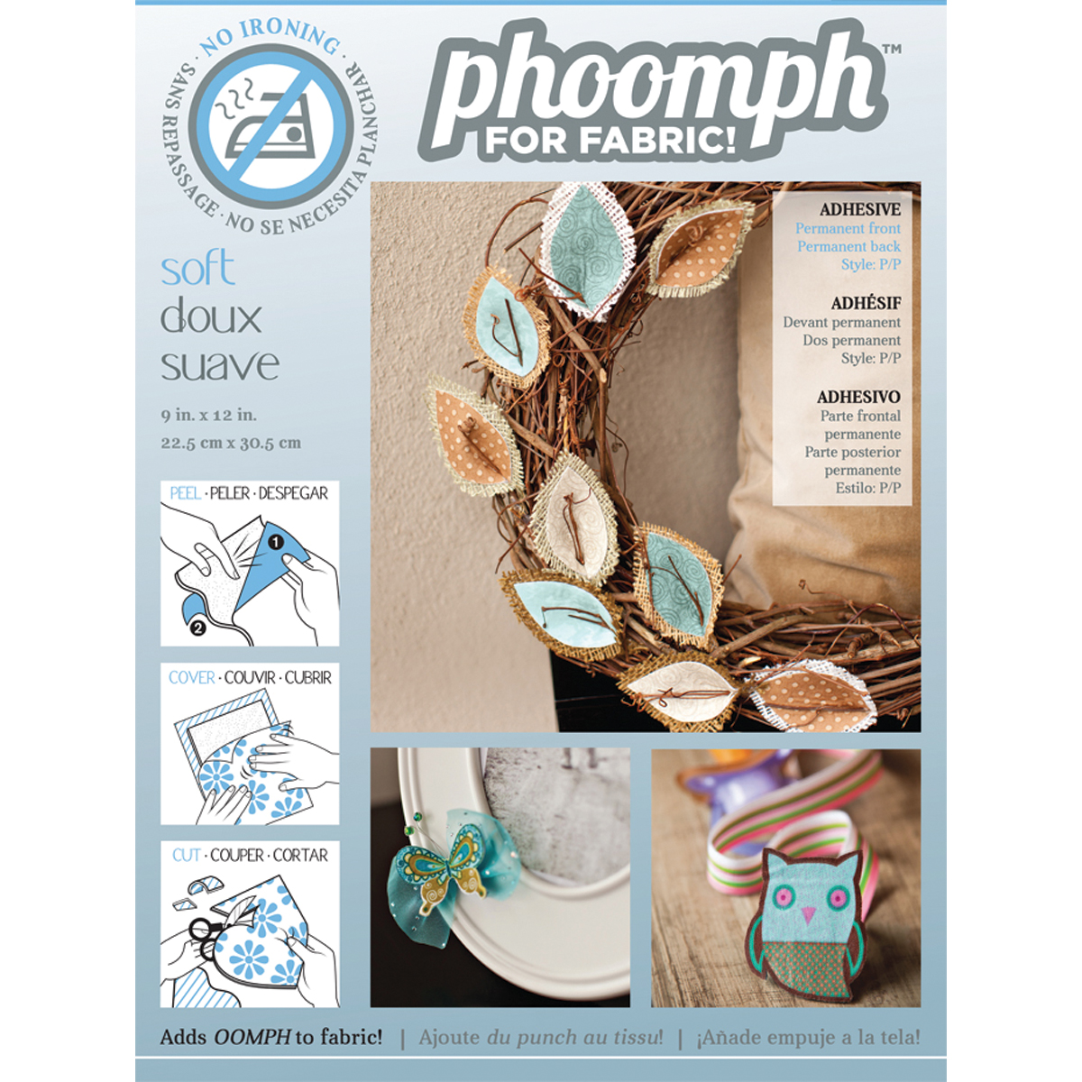 Coats Thread & Zippers Phoomph for Fabric, 9 by 12-Inch, Soft, White Multi-Colored