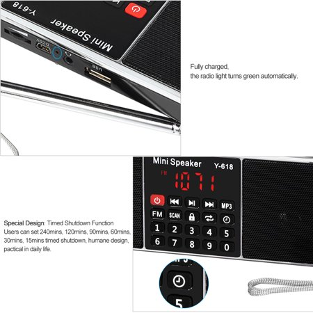 Y-618 Mini FM Radio Digital Portable Dual 3W Stereo Speaker MP3 Audio Player High Fidelity Sound Quality w/ 2 Inch Display Screen Support USB Drive TF Card AUX-IN Earphone-out - image 4 of 7