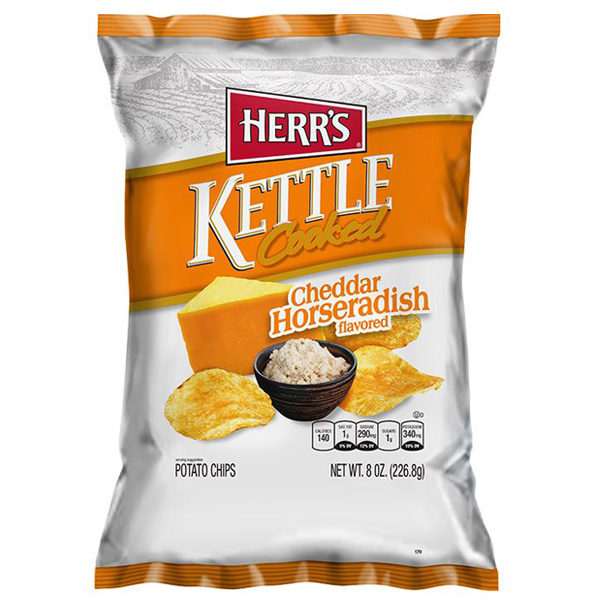 Herr's Cheddar Horseradish Kettle Cooked Potato Chips 8 oz Bags Pack of 12 by