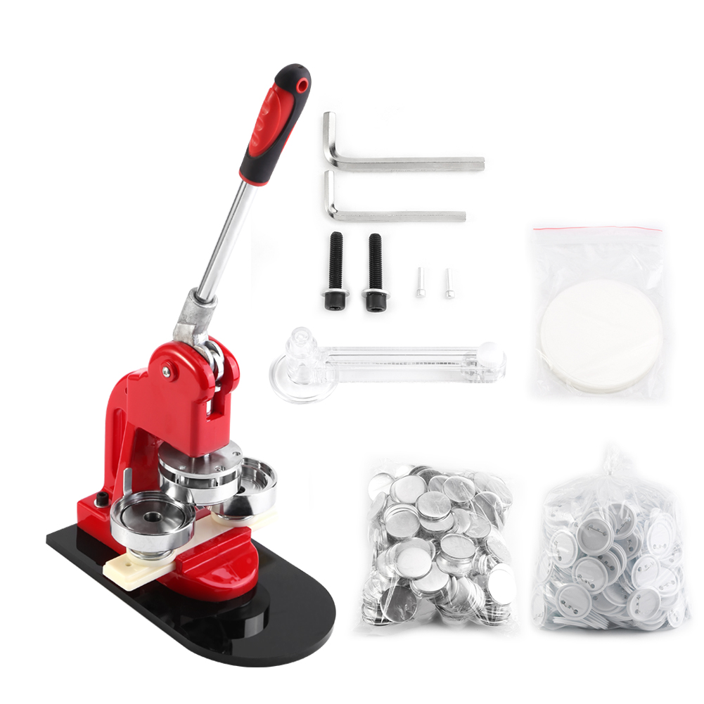 "1""/1.25""/2.28"" 1""/1.25""/2.28"" Red Button Badge Maker Punch Press Machine with 1000 Pcs Free Button Parts and Circle Cutter DIY Button Maker Button Pin Maker Machine for Training and Practice"
