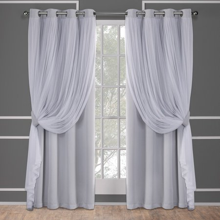 Exclusive Home Curtains 2 Pack Catarina Layered Solid Blackout and Sheer Grommet Top Curtain