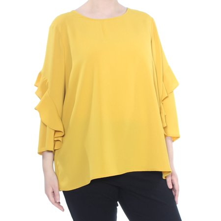 ALFANI Womens Yellow Ruffled Zippered 3/4 Sleeve Top  Size: XL (Alumni Clothing)