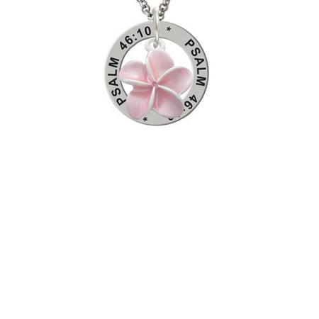 Plumeria Flower Necklace (Silvertone Pink Plumeria Flower Psalm 46:10 Affirmation Ring)