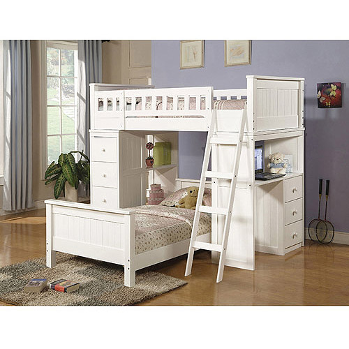 Willoughby Twin Over Twin Wood Bunk Bed With Desk U0026 Storage, White
