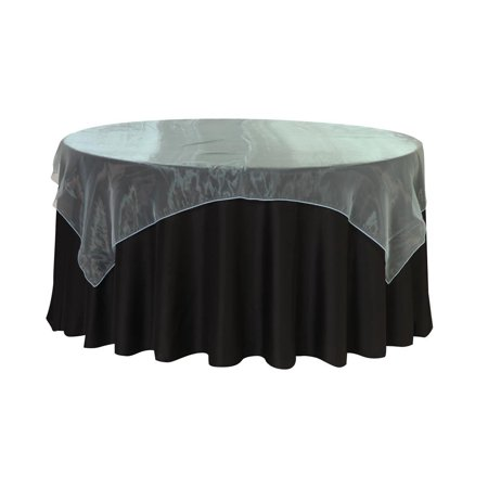 YCC - 90 Inch Square Organza Table Overlay Turquoise