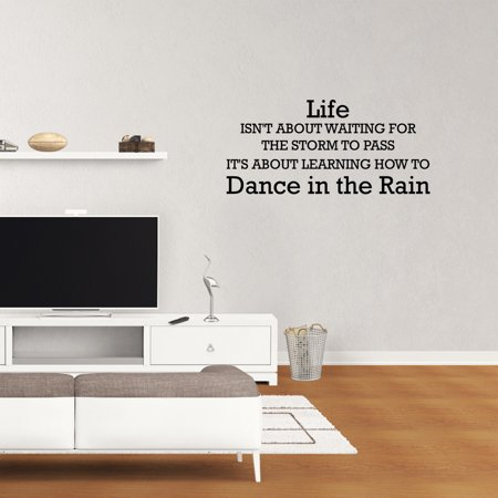 Wall Words Graphics (Life Isn't About Waiting For The Storm To Pass It's About Learning How To Dance In The Rain Vinyl Wall Decal Quote Life Family Love Bedroom Lettering Words Graphics Home)