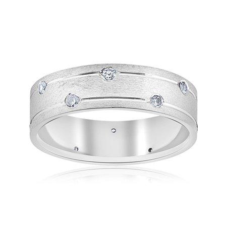 14k Mens Diamond Rings - Mens 14k White Gold Genuine Diamond Comfort Fit Wedding Ring 6MM Brushed Band