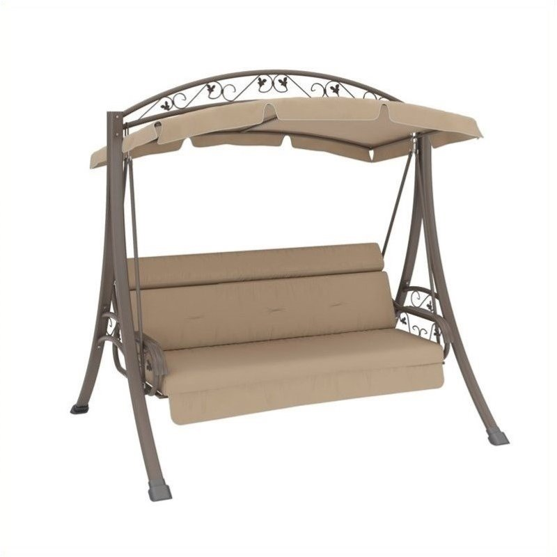 Pemberly Row Patio Swing with Arched Canopy in Beige by Pemberly Row