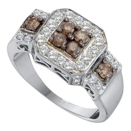 Courvoisier Vs Cognac - 14kt White Gold Womens Round Cognac-brown Color Enhanced Diamond Cluster Ring 1.00 Cttw