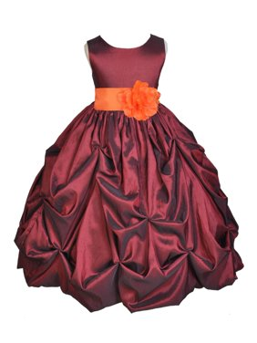 b6bffc234bfd5 Product Image Ekidsbridal Burgundy Bubble Pick-up Taffeta Flower Girl Dress  Christmas Bridesmaid Wedding Pageant Toddler Recital