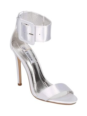 1fd69ebbd5d Product Image Silver Satin Open Toe Ankle Cuff Stiletto High Heel Sandal -  6.5. Fourever Funky