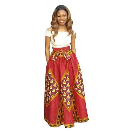 - Red African Print Diamond High Waist Maxi Skirt