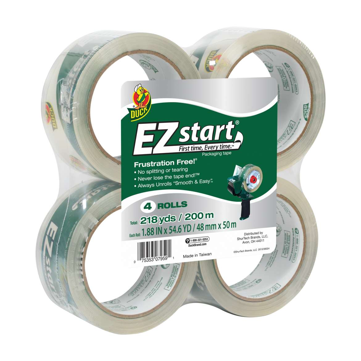 EZ Start Packaging Tape - Clear, 4 pk, 1.88 in. x 54.6 yd.