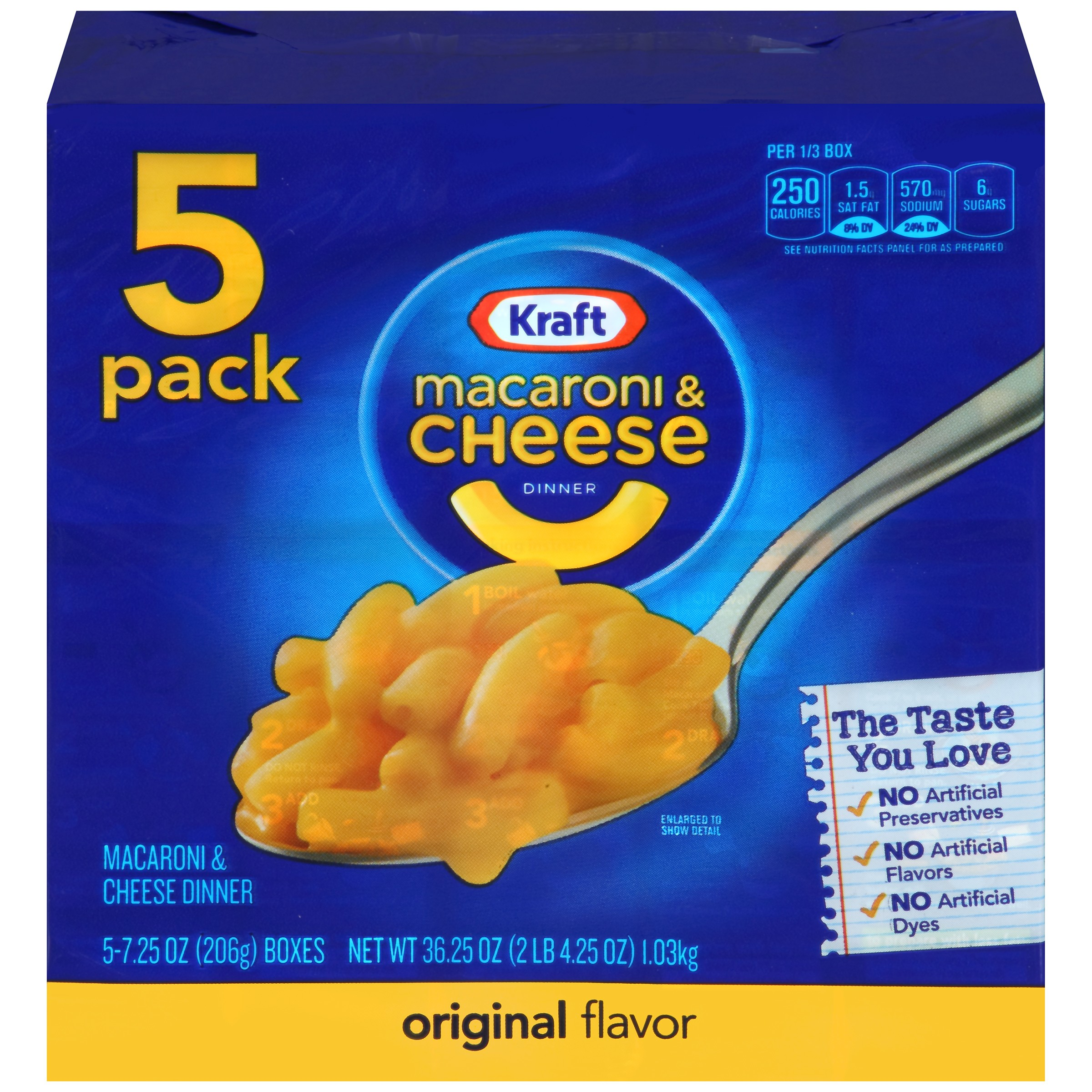 Kraft Original Flavor Macaroni & Cheese Dinner 5-7.25 oz. Boxes