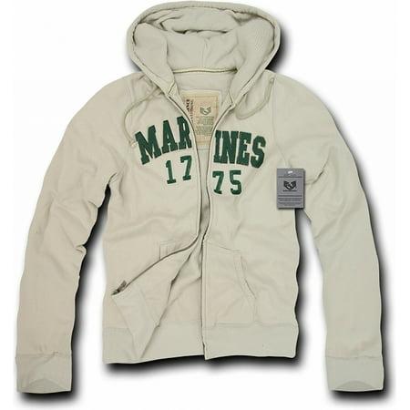 RapDom Marines Deluxe Zip-Up Mens Hoodie Jacket [Cream - 2XL]