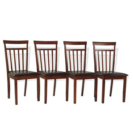 SK New Interiors Set of 4 Warm Solid Wood Dining Kitchen Side Chairs w/Padded Seat,  Dark Walnut