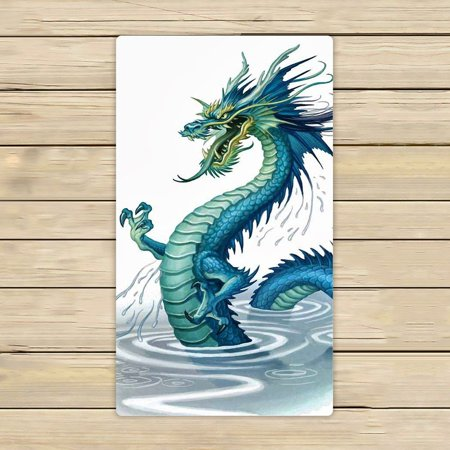Dragon Design Beach Towel - GCKG Golden Chinese Dragon Hand Towel,Spa Towel,Beach Bath Towels,Bathroom Body Shower Towel Bath Wrap Size 16x28 inches