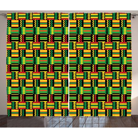 Kente Pattern Curtains 2 Panels Set, Tribal Kenya Nigeria Design with Lively Cultural Colors Abstract Traditional, Window Drapes for Living Room Bedroom, 108W X 63L Inches, Multicolor, by Ambesonne