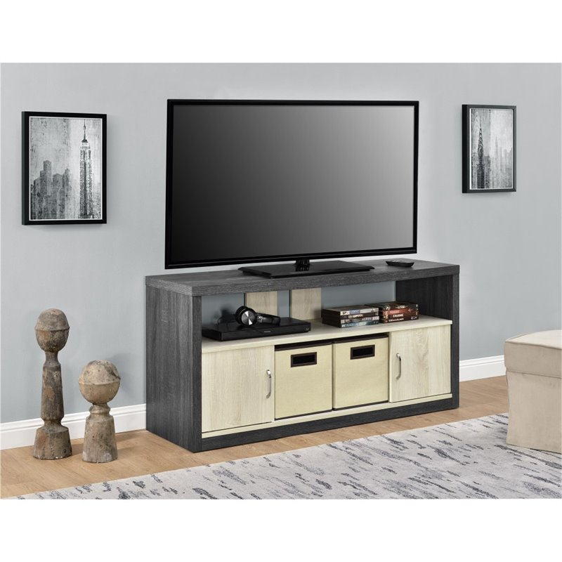 "Altra Winlen 50"" TV Stand with 2 Bins, Carmen Oak Natural Oak by Ameriwood"