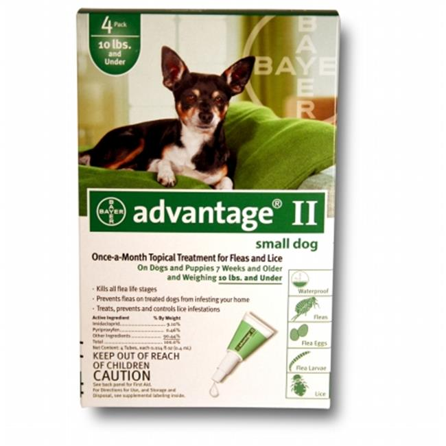 BAYER 004BAY-04461707 Advantage II for Small Dogs 0 - 10 lbs  - Green-  4 Months