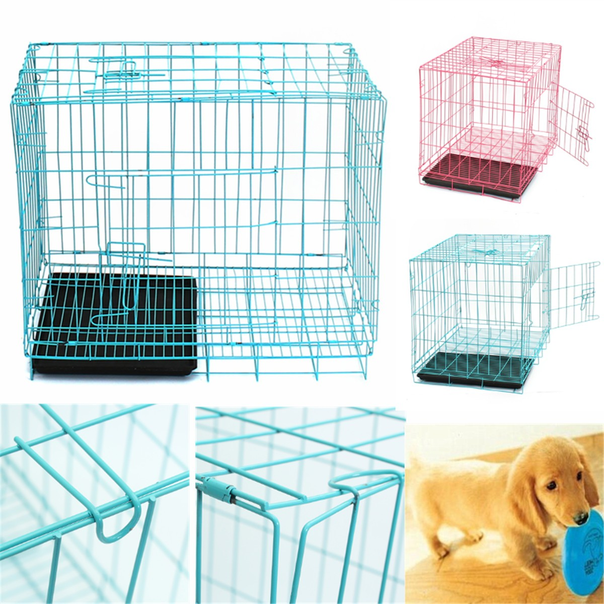 "27.6""x19.7""x23.6"" Folding Pet Crate Dog Cat Metal Cage Animal Kennel Playpen With Black Plastic Tray Indoor Outdoor"