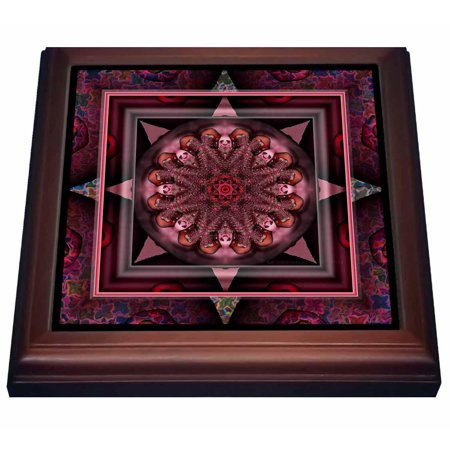 Harmony Cup - 3dRose MANDALA 10 chakra purple pink black flowerpower hippie india orient oriental meditate peace harmony, Trivet with Ceramic Tile, 8 by 8-inch