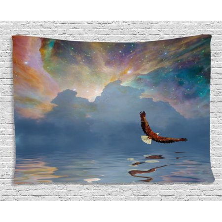 Eagle Tapestry, Majestic Huge Bird Flying above the Sea into the Starry Sky Freedom Themed Image, Wall Hanging for Bedroom Living Room Dorm Decor, 60W X 40L Inches, Multicolor, by Ambesonne