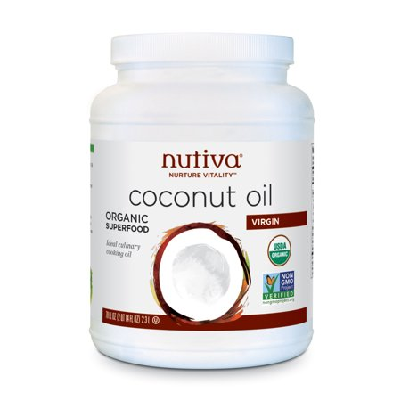 Nutiva Organic, Cold-Pressed, Unrefined, Virgin Coconut Oil from Fresh, non-GMO, Sustainably Farmed Coconuts, 78 Fluid Ounces ()