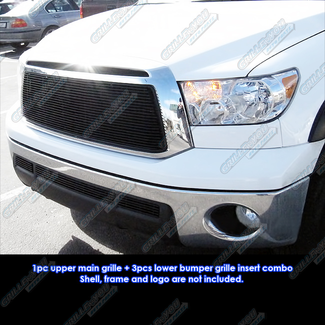 Fits 2010-2013 Toyota Tundra Black Billet Grille Grill Insert Combo #T81014H